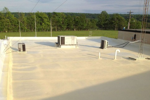 First steps in a spray foam roof restoration project.