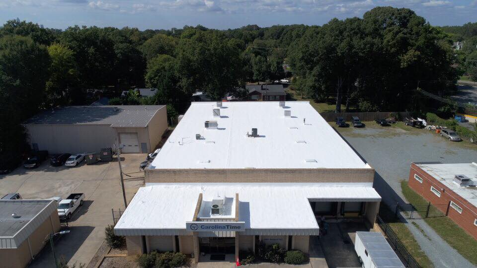 a white commercial roofing in Charlotte, NC project