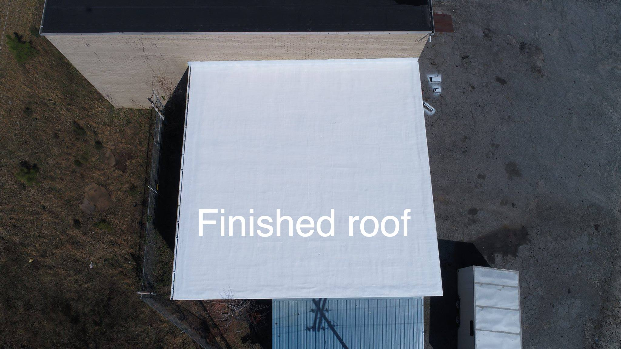 Picture of a finished white roof.