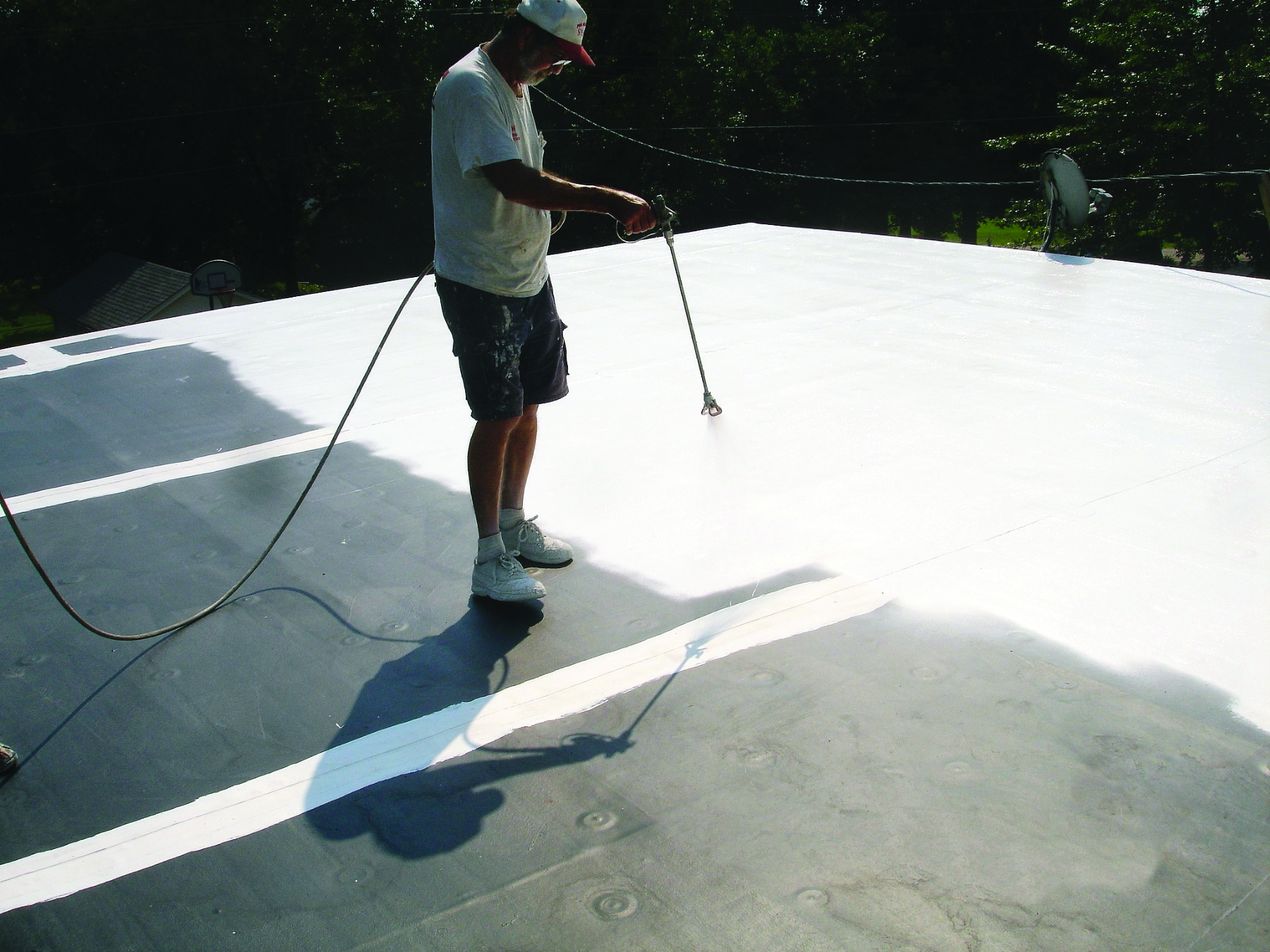 One of our specialists working hard on a roof restoration project!